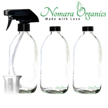 Load image into Gallery viewer, Clear Glass Spray Bottles 3 x 500ml by Nomara Organics®. Fitted with BPA-free trigger Pumps, Polycone leakproof caps + a BPA-free beaker.  Eco-friendly, Refillable perfect for misting plants, Organic products, Oil-vinegar, Cleaning, Essential oils