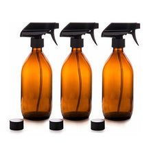 Load image into Gallery viewer, Amber Glass Spray Bottles 3 x 500ml by Nomara Organics®. Eco-friendly, BPA-free, Reusable for Cleaning-Aromatherapy-Essential Oils-Plants-Hair-Pet care & DIY.