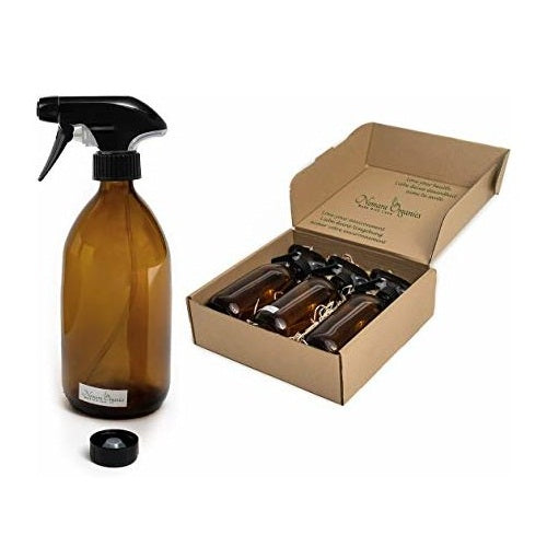Nomara Organics® Amber Glass Spray Bottles 3 x 500ml large. Boxed on Straw, Pumps & 3 caps. Eco-friendly, Re-usable for Gift-Kitchen-Bathroom-Cleaning