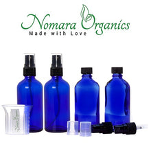 Load image into Gallery viewer, Nomara Organics® Blue Glass Leak Proof Atomizer Spray Bottles 4 x 30ml. Black Atomiser-Sprayers + beaker-reusable-herbal-lotion-aromatherapy-essential oil-serum-crafts