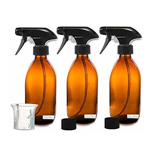 Nomara Organics® BPA-Free Amber Glass Spray Bottles 3 x 300ml. BPA-Free Trigger-Reusable-Kitchen-Hair-Bathroom-Plant & Orchid Mister