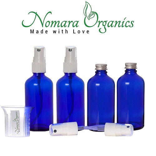 Nomara Organics® Glass Leak Proof Blue Atomizer Spray Bottles, 4 x30ml. Refillable-Handbag- Organic-Beauty-Lotion-essential oil-Herbal liquids