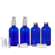 Load image into Gallery viewer, Nomara Organics® Glass Leak Proof Blue Atomizer Spray Bottles, 4 x30ml. Refillable-Handbag- Organic-Beauty-Lotion-essential oil-Herbal liquids
