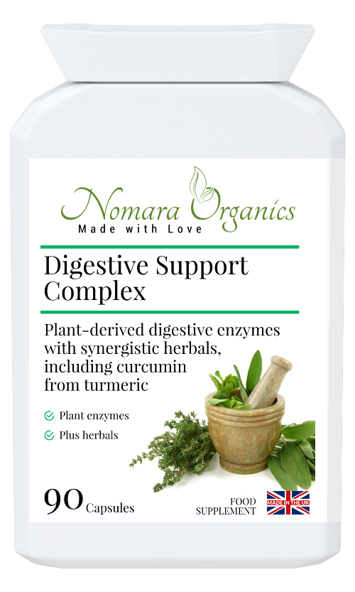 Nomara Organics Digestive Support Complex.  90 capsules of plant-derived enzymes,  herbs & curcumin. Dairy & gluten-free and Kosher approved.