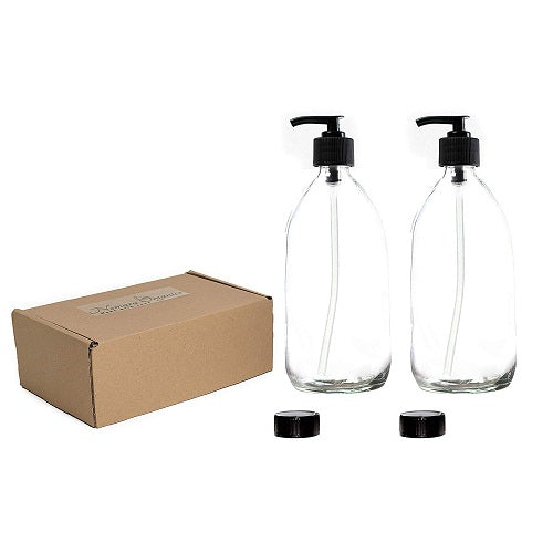 Nomara Organics® Glass Lotion & Soap Dispenser Set, 2 x 300 ml.  Clear Bottles, nestled on Straw in a Box, Lockable Black Pumps & spare caps. Eco-Friendly, Reusable, ideal for a Gift-Travel-Handwash-Bathroom, Cleaning, Organic products, Shampoo, DIY