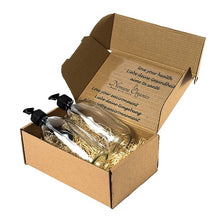 Load image into Gallery viewer, Nomara Organics® Glass Lotion & Soap Dispenser Set, 2 x 300 ml.  Clear Bottles, nestled on Straw in a Box, Lockable Black Pumps & spare caps. Eco-Friendly, Reusable, ideal for a Gift-Travel-Handwash-Bathroom, Cleaning, Organic products, Shampoo, DIY
