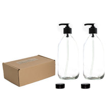 Load image into Gallery viewer, Clear Glass Lotion & Soap Dispensers 2 x 500ml Boxed set by Nomara Organics®. Nestled on straw, fitted with BPA-free Lockable pumps & 2 Spare Non-leak caps. Reusable, Eco-friendly, ideal for a Gift, Organic products, Handwash, Cleaning, Bathroom, Kitchen