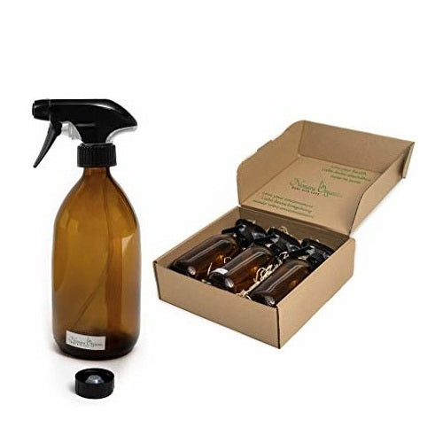 Nomara Organics® Amber Glass Spray Flask 3 x 300ml. Boxed, on straw, 3 pumps & Caps. Eco-friendly, Re-usable for Gift-Birthday, Organic products for Hair care, Cleaning, Bathroom. Kitchen, DIY