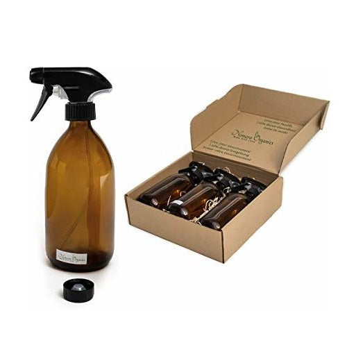 Boxed Amber Glass Spray Bottles 3 x 500ml by Nomara Organics®. BPA-free, Trigger Pump + Caps.  Eco-friendly, Re-usable, perfect for a Gift, Organic products for Plants, Cleaning & Hair Care, DIY, Bathroom or Kitchen.