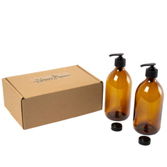 Boxed Amber Glass Soap Dispenser set, 2 x 500ml by Nomara Organics®. Nestled on Straw, fitted BPA-free Lockable pumps & Leakproof caps. Eco-friendly, Reusable, perfect for a Gift, Bathroom, Organic Lotion, Handwash, Conditioner, Essential Oil blends.