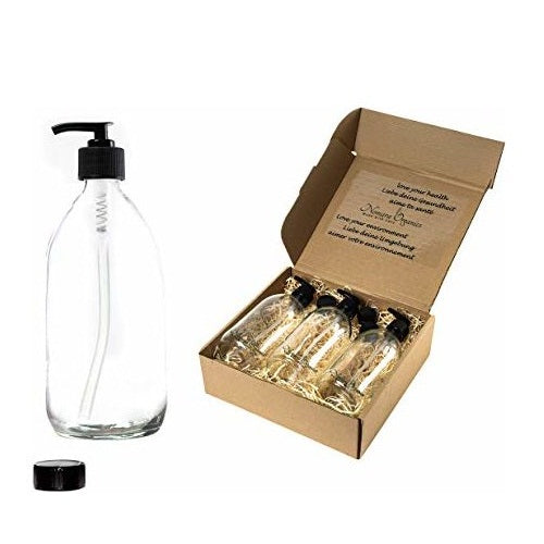 Boxed 4pcs Clear Glass Lotion & Soap Dispenser set 300ml by Nomara Organics®. Nestled in a box of straw, fitted with BPA-free Lockable Pumps, 4 Spare Non-leak caps, Reusable, ideal for a gift, Handwash, Organic products, Travel, DIY, Arts & Crafts.