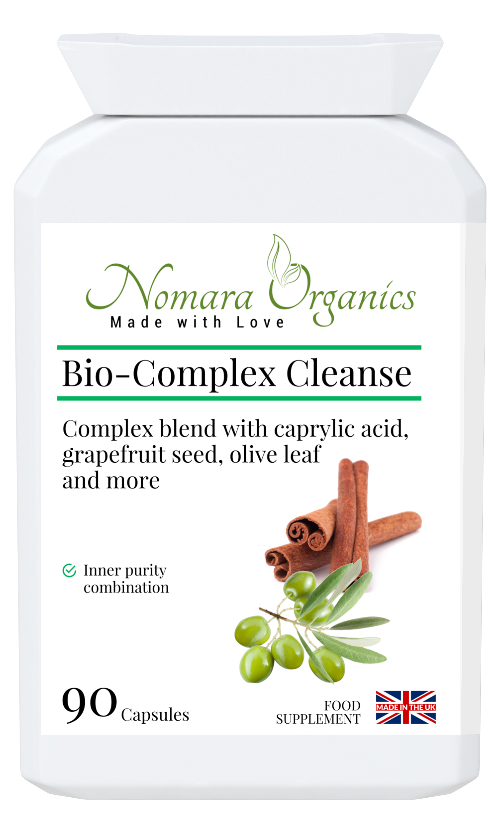 Nomara Organics Bio-Complex Cleanse for gastrointestinal support.  Contains  a combination of 12 herbs including natural caprylic acid from coconut.