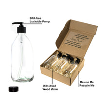 Load image into Gallery viewer, Nomara Organics® Lotion & Soap Dispensers 3 x 300ml Clear Glass. Eco-friendly, Reusable perfect for Bathroom, Kitchen, Organic products, Face wash, Handwash. Aromatherapy, Oil, Cleaning, Essential oil blends, Shampoo