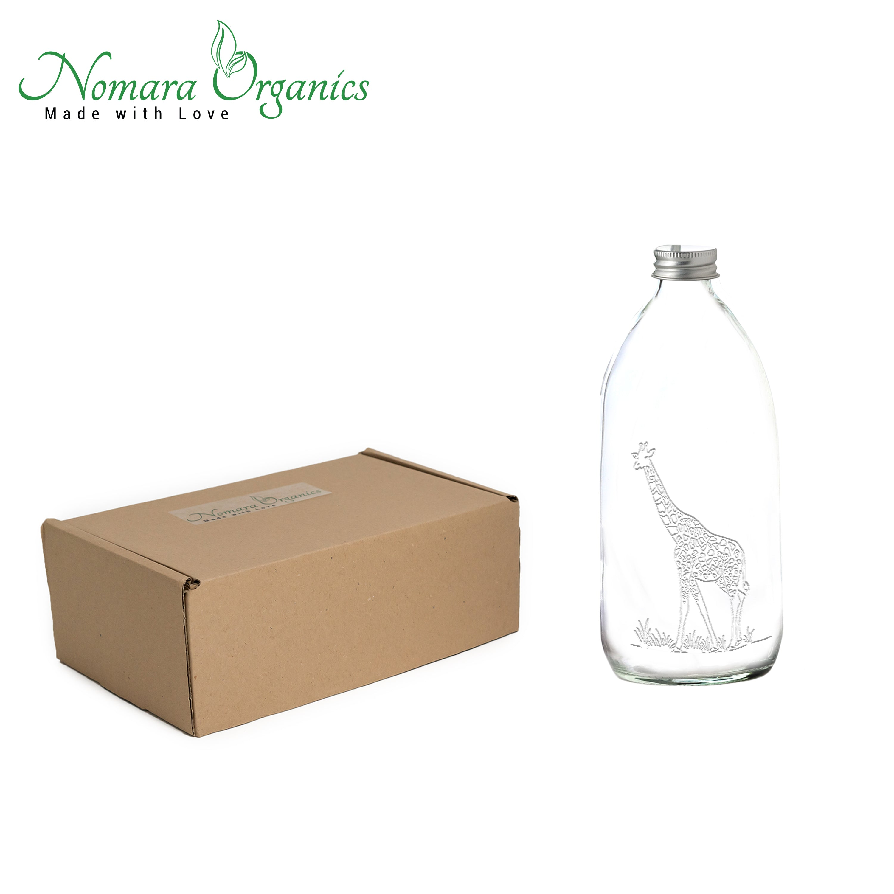 1pc Giraffe Laser Engraved Glass Spray Bottle 500ml by Nomara Organics®. Nestled on straw, BPA-free pump. Re-usable, ideal for a Gift, Bathroom, Kitchen, Flower vase, Ornament, Hair care, Room sprays, Essential oil blends, Cleaning