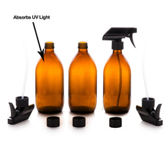 Amber Glass Spray Bottles 3 x 500ml by Nomara Organics®. Eco-friendly, BPA-free, Reusable for Cleaning-Aromatherapy-Essential Oils-Plants-Hair-Pet care & DIY.