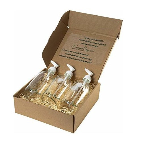 Countertop Glass Soap Dispensers 3 x 500ml Clear by Nomara Organics®. Boxed, BPA-free Lockable pumps, Reusable & perfect for a Gift, Lotion, Handwash, Face wash, Body Oils & Serums, Homemade products