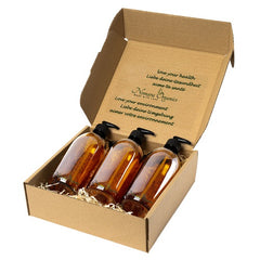 Nomara Organics Soap Dispensers set, 3 x 500ml Amber Glass. BPA-free lockable pumps, caps, Eco-friendly, Reusable. Perfect for a gift, Kitchen, Storage, Bathroom, Organic hand-wash, Cleaning, Shampoo, Face-wash, DIY