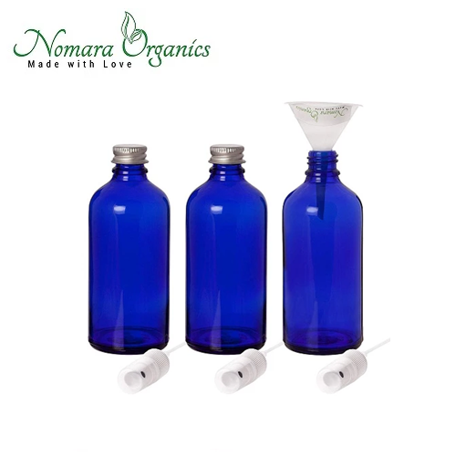 Premium 100ml Glass Leak Proof Atomizer Spray Bottles by Nomara Organics - Pack of 3 in Cobalt Blue Glass with Atomiser Sprays + BPA- Free Transfer Funnel & 2 x Leak proof Silver Caps.