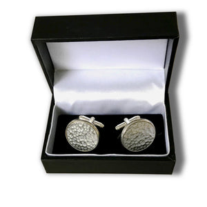 Round Pewter Cufflinks in box