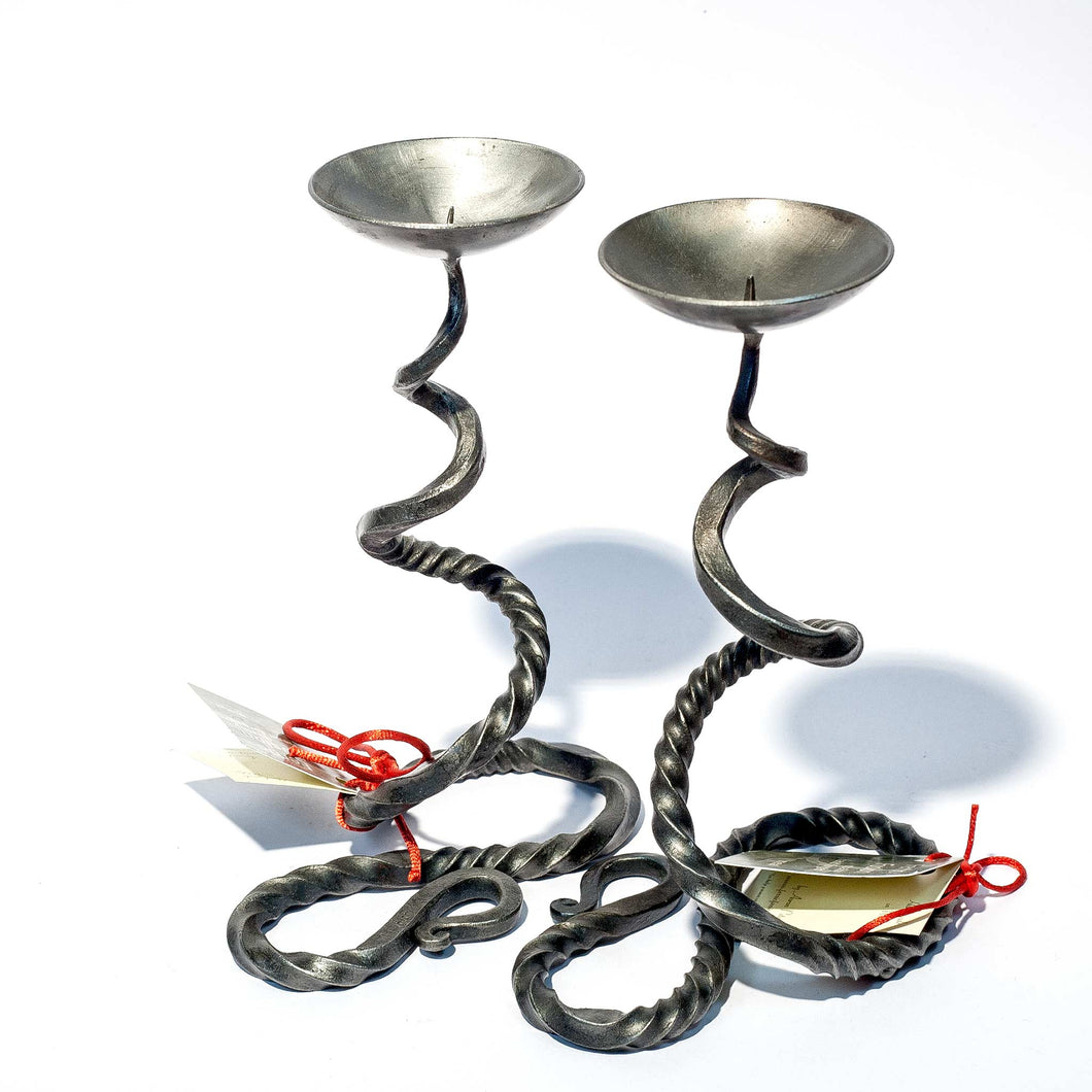 Wrought Iron Candlestick - Pair of Small Basilick