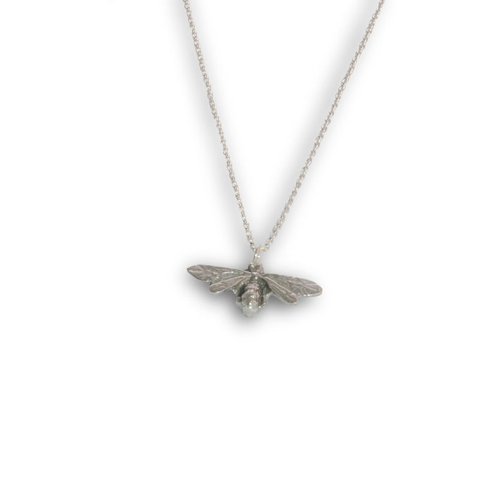 Pewter Bee Pendant on Chain - Small