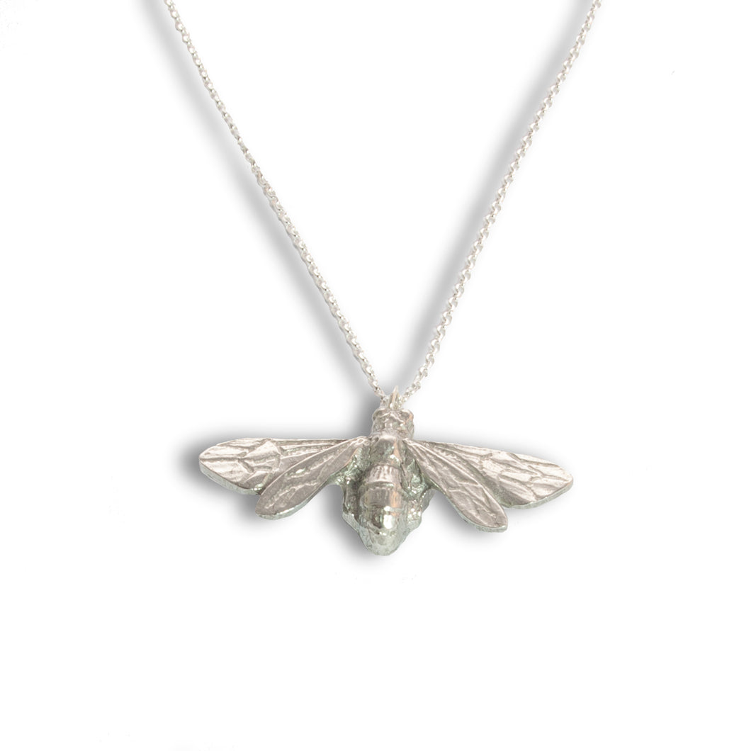 Pewter Bee Pendant on Chain - Large