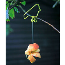 Yellow Wire Bird Feeder with Apple bits