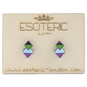 Mirrored Studs in Mauve Green & Pale Blue