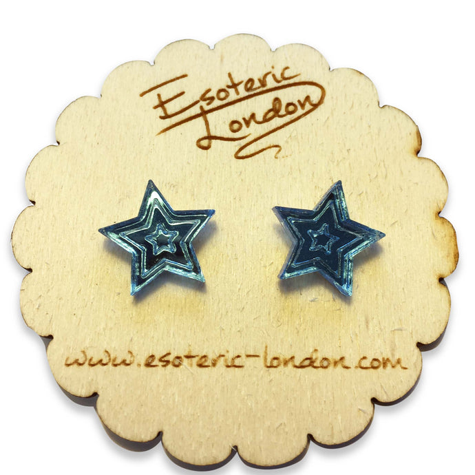 Small Star Mirrored Stud Earrings Pale Blue