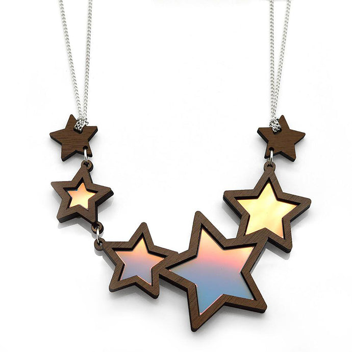 Shooting Star Necklace showing gold blue and pink