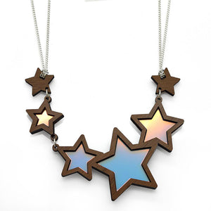 Shooting Star Necklace showing blue and gold