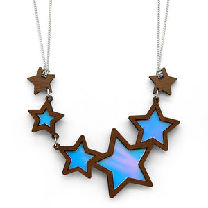 Shooting Star Necklace showing blue mauve