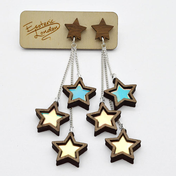 Triple Star Dangle Stud Earrings on Card