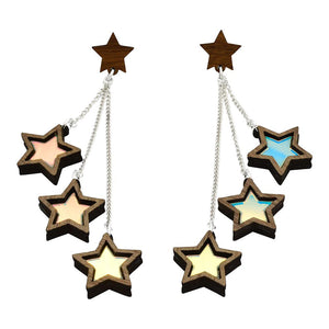 Triple Star Stud Dangle Earrings displayed