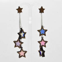 Stripe Star Stud Dangle Earrings hanging
