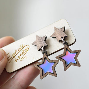 Star Stud Earrings in Hand  Mauve Pink
