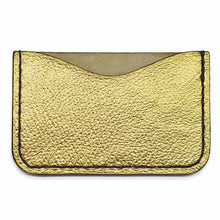 Gold Back of Metallic Leather Card Holder
