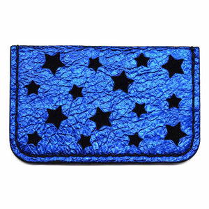 Blue Metallic Leather Star Cut Card Holder
