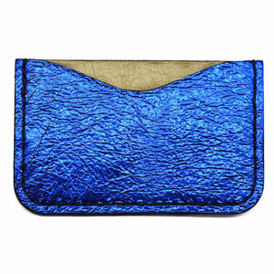 Back - Blue Metallic Leather Card Holder