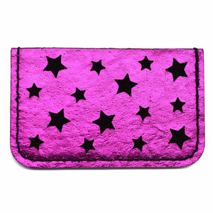 Pink Metallic Leather Star Cut Card Holder