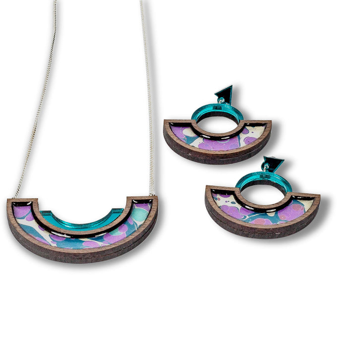 Necklace and Erring Set in Turquoise & Mauve