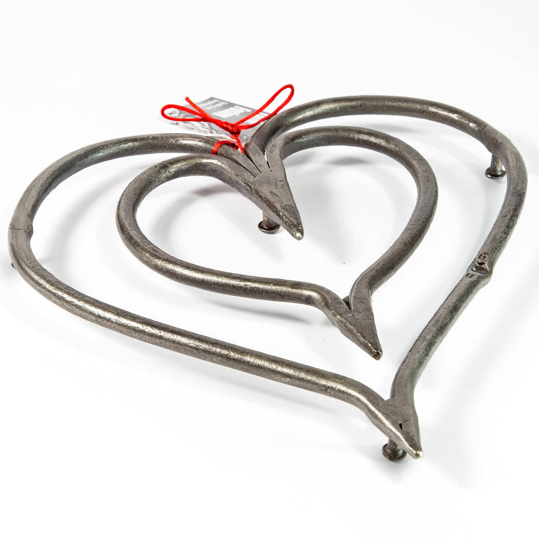 Wrought Iron Heart Trivet - Large.