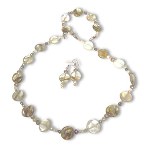 Agate and Pearl Necklace 3pc set by CMS Jewellery
