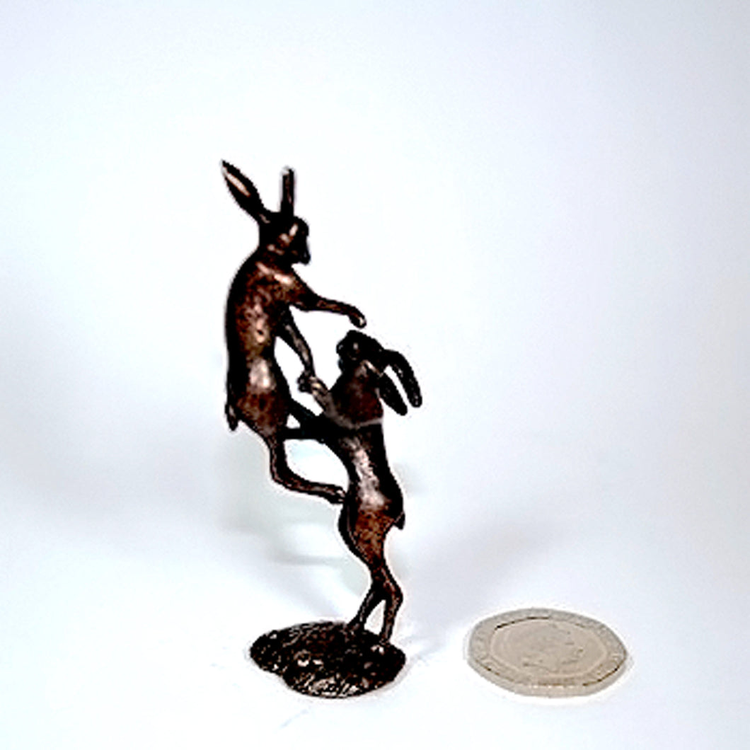 Bonsia Bronze Boxing Hares by Dave Meredith