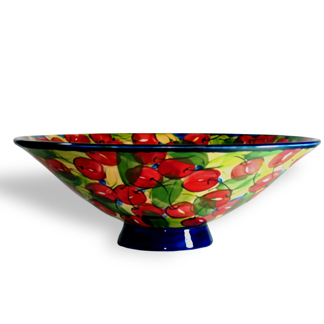 Ceramic Bowl Red Cherry Design by Shelton Pottery