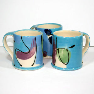 Ceramic Large Straight Sided Blue Mug by Richard Wilson Ceramics
