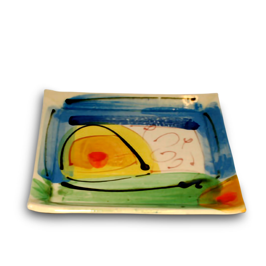 Ceramic Small Square Vibrant Plate by Richard Wilson Ceramics