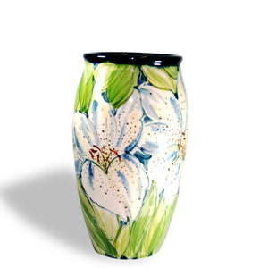 Ceramic Vase Yellow Lily Design by Shelton Pottery