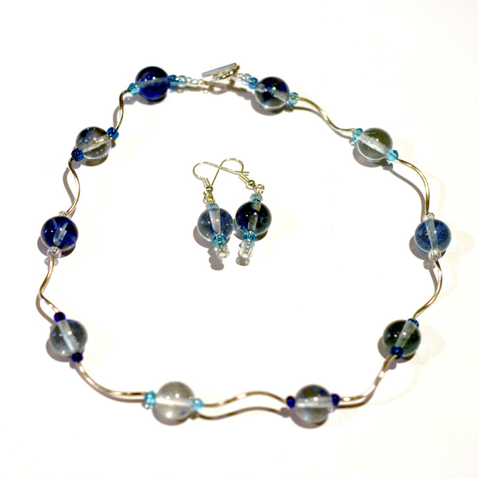 Choker and Earrings Blue Beads & Squiggles by CMS Jewellery