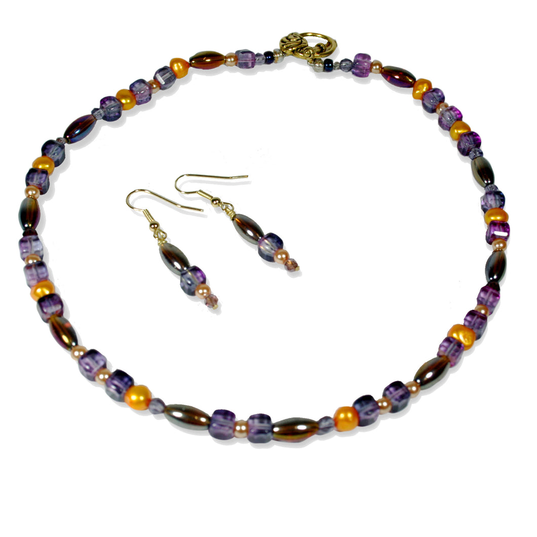 Choker with earrings Necklace Set Amethyst by CMS Jewellery